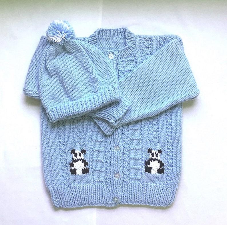 42ff2784480 Girls blue knit cardigan and hat - 5 years girl - Girls handknit panda  sweater set - Childs knit sweater - Girls knitwear - Gift for girl