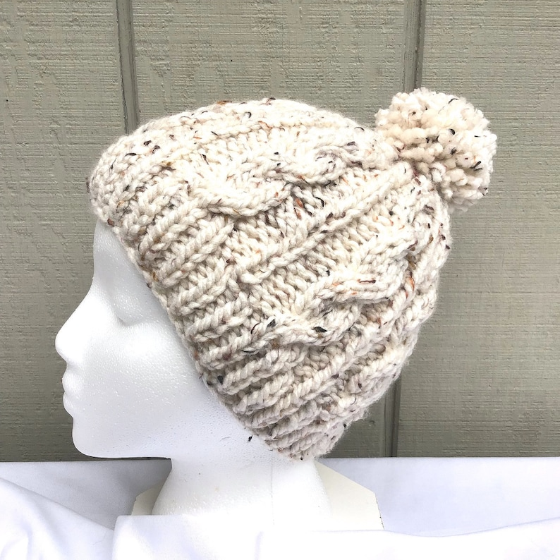 5a27e35177d Beige Pompom beanie Off white bobble hat Hand knitted