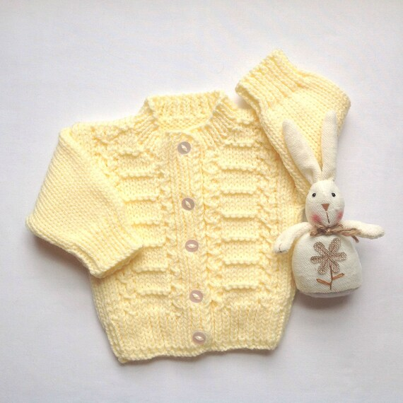 Infant Hand Knit Cardigan 0 To 6 Months Baby Yellow Etsy
