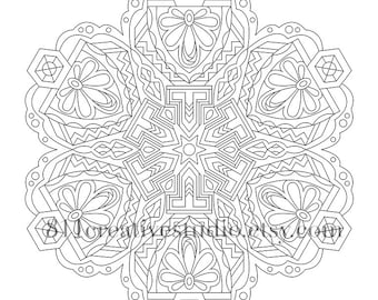 Fantastic Mandala Coloring Page Adult Instant Download Printable Intricate Relaxing Design