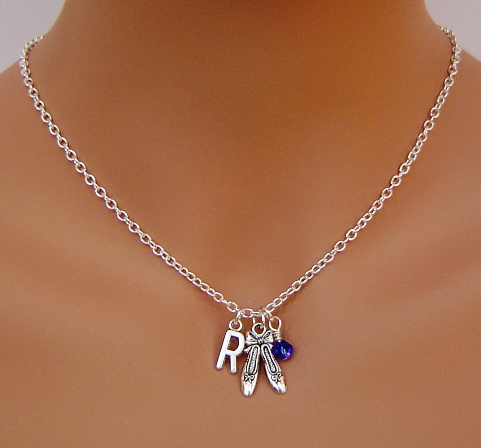 ballet shoes personalized necklace with initial, birthstone, i love ballet, i love dancing. best necklace birthday necklace