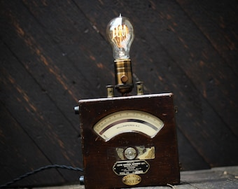 Voltmeter lamp Vintage lamp Edison lamp Wood lamp