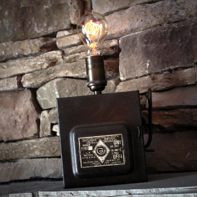 vintage edison desk lamp colt fuse box etsy house electrical fuse boxes  image 0