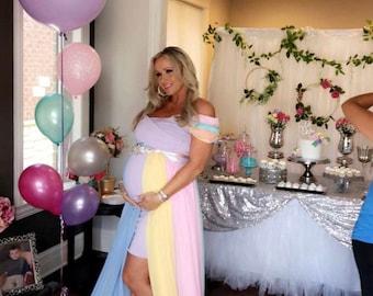 b611525ae47 Rainbow Maternity Skirt Maternity skirt for Photo shoot Baby shower skirt Rainbow  baby Bohemian maternity pastel chiffon