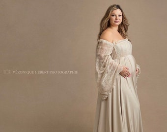 aee228c4ae1 maternity dress for photo shoot baby shower dress Maternity Dress Maternity  dress for baby shower dress champagne dress