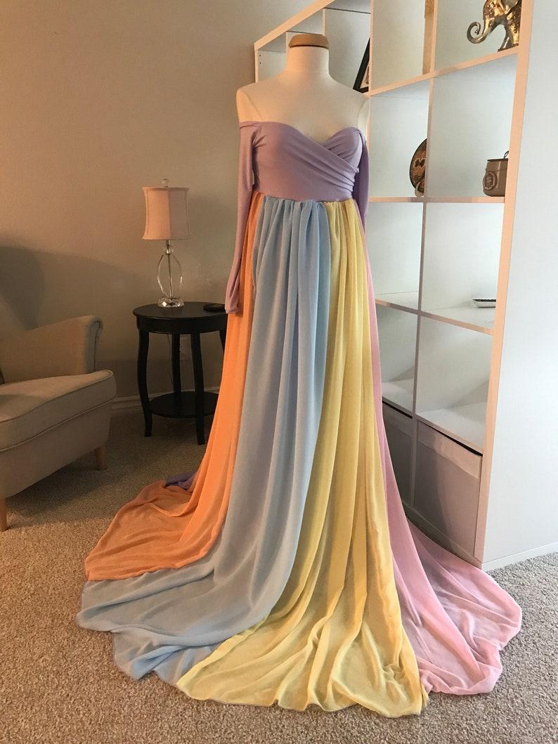 Rainbowmaternity dressbaby shower dressMaternity GownChiffon DressPhoto shoot dressrainbow babylong sleeves dress