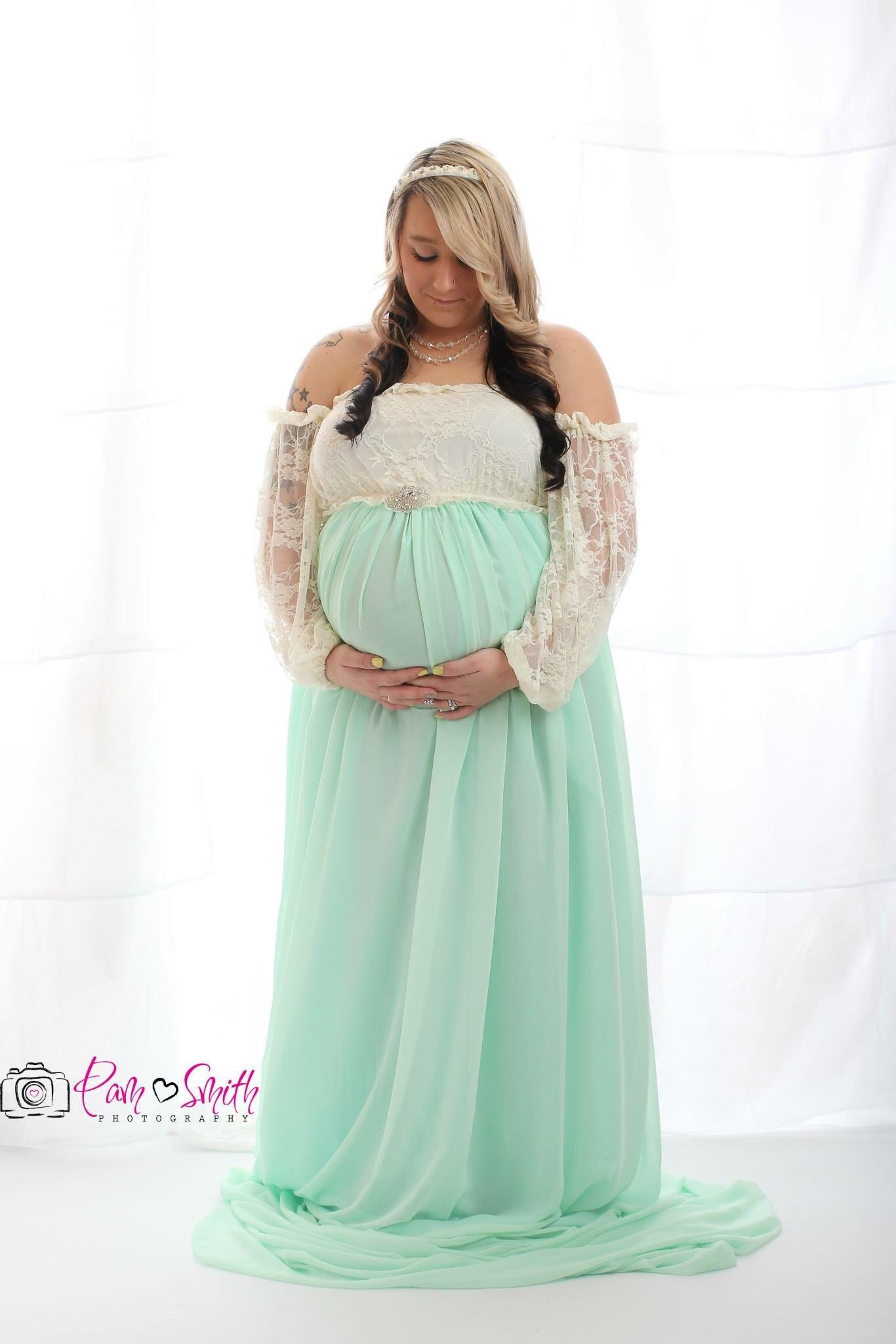 2ec8efc6e62 Mint cream ombré Maternity Gown with long sleeves Closed