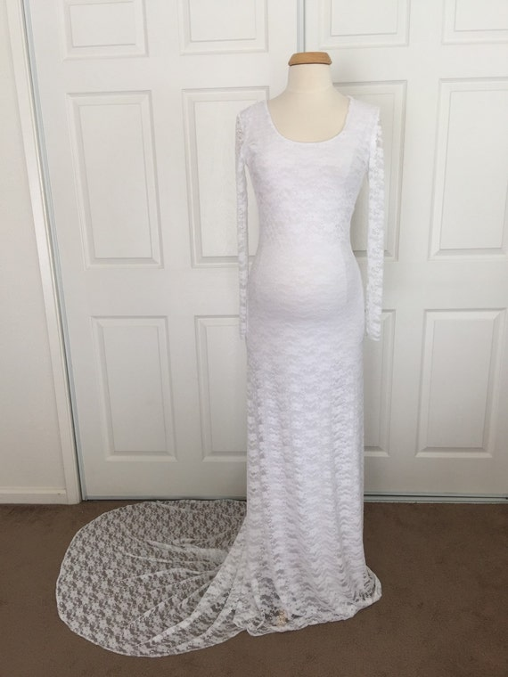 White Lining Lace Long Sleeves Maternity Gown Lace Maternity Dress Maternity Wedding Gown Baby Shower Dress