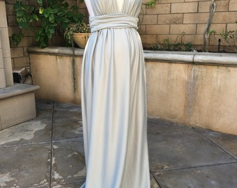 Sale price!! Ready to ship!! Silver, Light gray Jersey Maternity Infinity Gown, Maternity Dress, Maternity photo props, one size dress