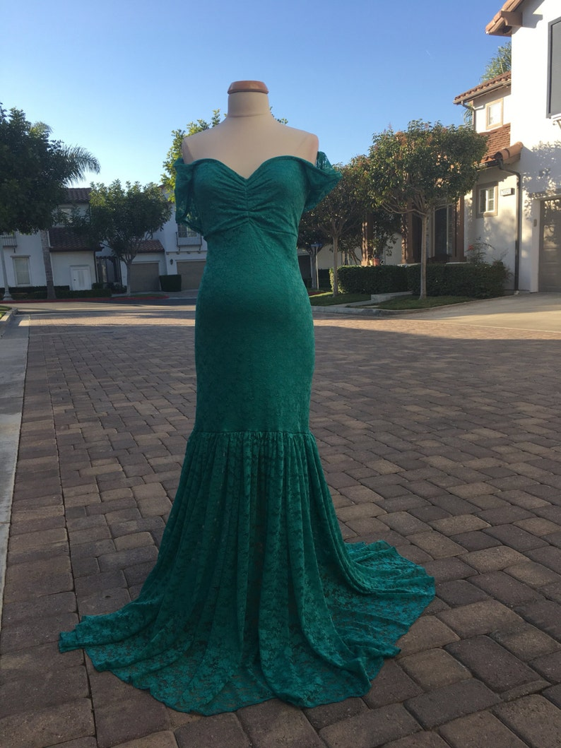 Plus size Teal Lace Maternity Gown Mermaid Slim Fit Maternity Dress with drop sleeves Baby shower Maternity Dress Maternity Photo Props