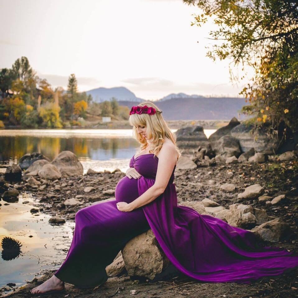Lining Plum Chiffon-Jersey Maternity Gown/Chiffon   Etsy