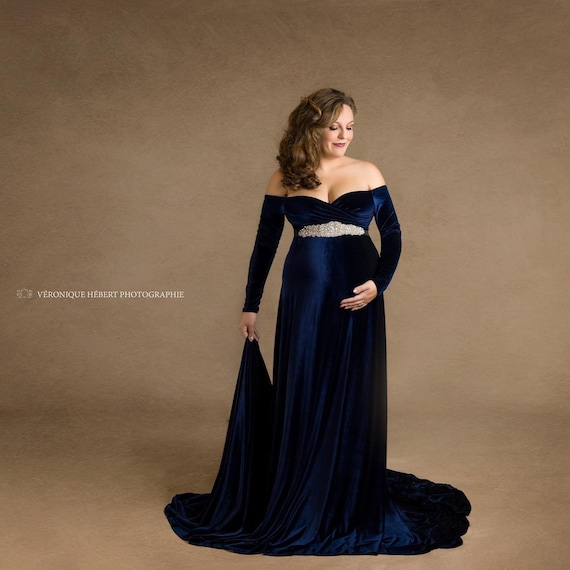 Navy Blue Velvet Maternity Gown Maternity Dress Baby Shower Etsy