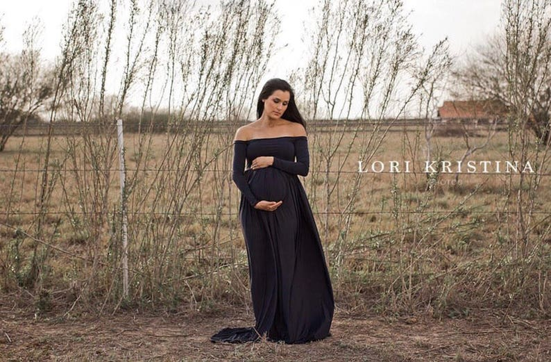 1444e37075f Black Jersey Closed off shoulder long sleeves maternity gown