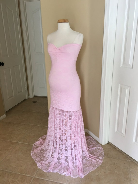 45344fc069 Light Pink Lace Maternity Gown Mermaid Slim Fit