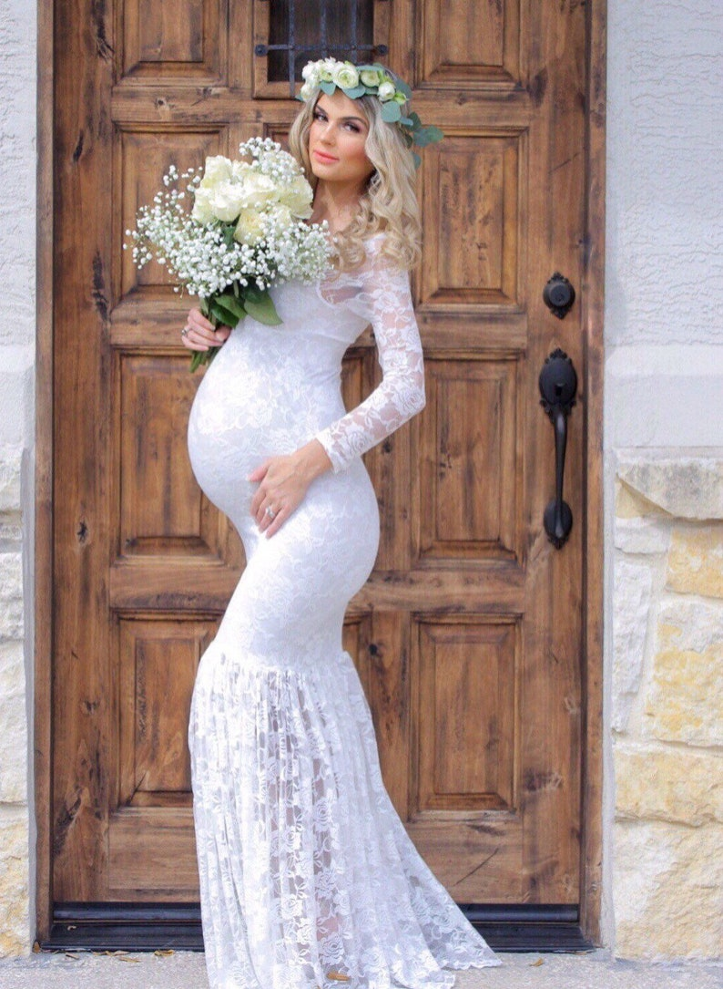 Maternity Wedding Dress/maternity Gown/Mermaids Maternity Dress/Maternity  Dress/bridesmaids dress/white lace dress/baby shower dress