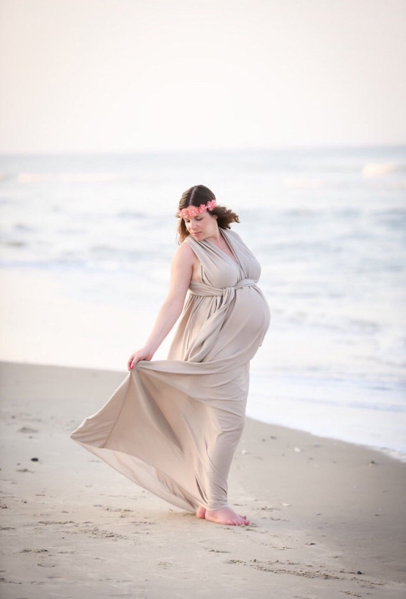 c6122ff5404 Champagne Jersey Maternity Infinity Gown Maternity Dress