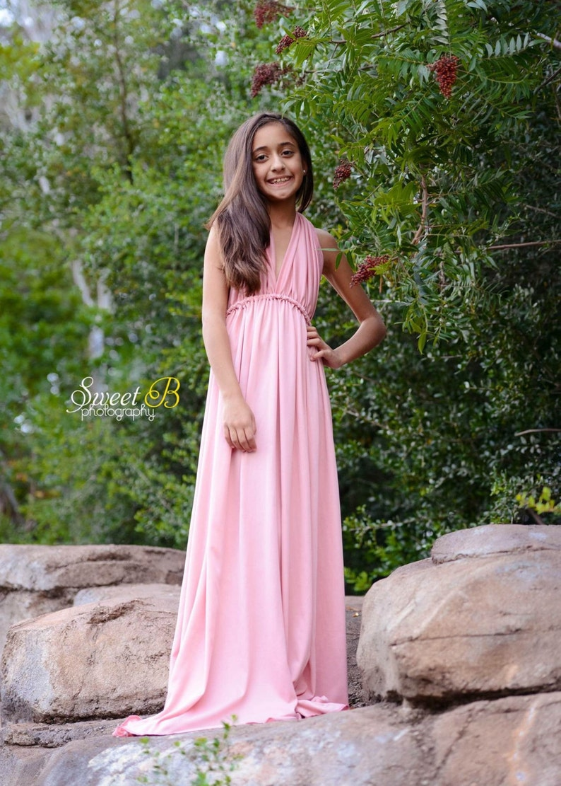 7a95c595a0e Dusty pink Girl jersey infinity dress Children jersey gown