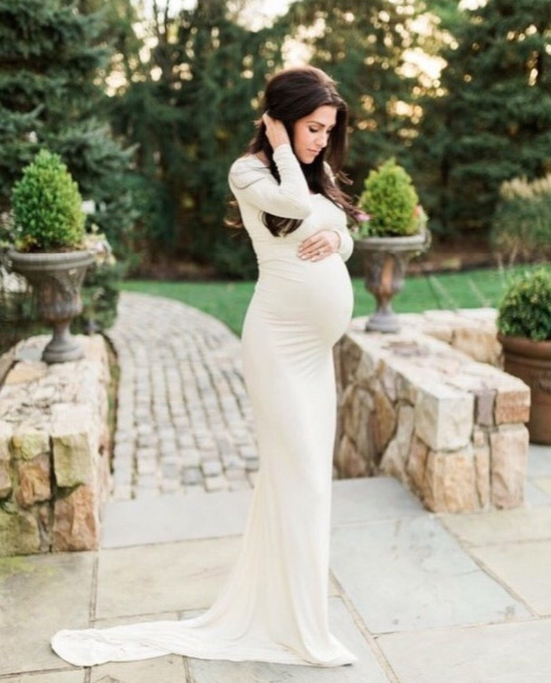 1f5cf580c0651 Ivory Jersey Long Sleeves Slim fit Maternity Gown Maternity | Etsy