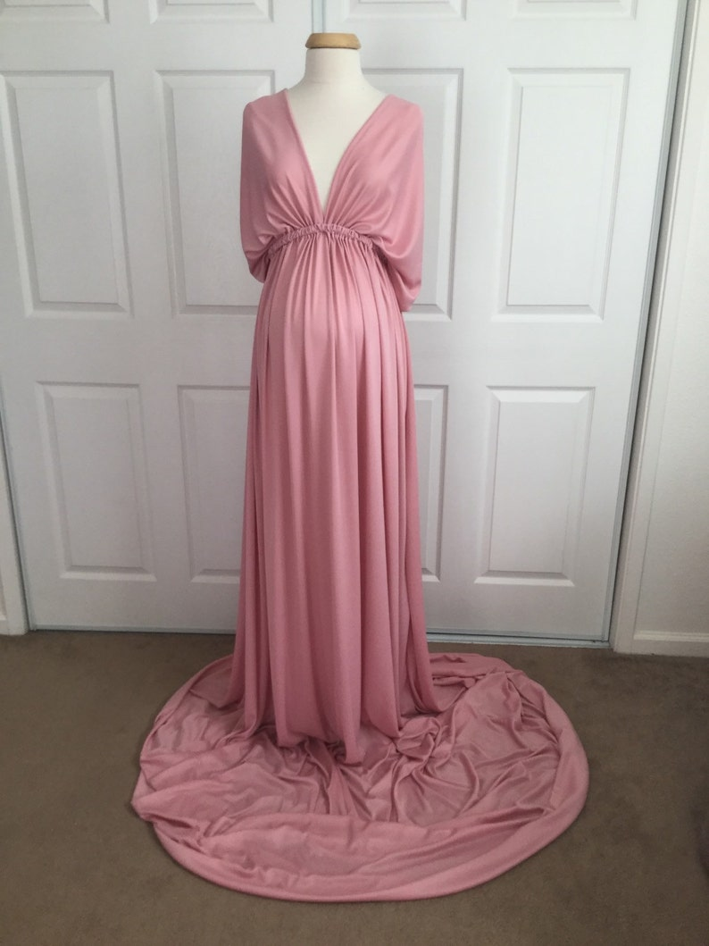 ffe797f7ea5 Dusty Pink Jersey Infinity Gown Maternity Dress Mammy and me