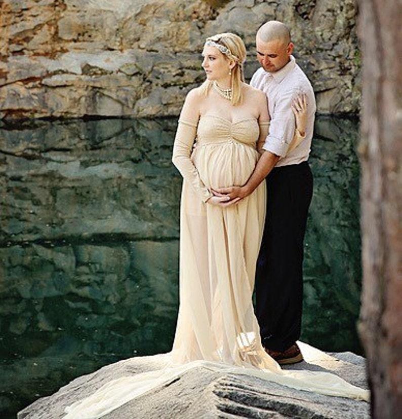 0d7e21d6a3a Champagne split long sleeves chiffon lace maternity gown Long