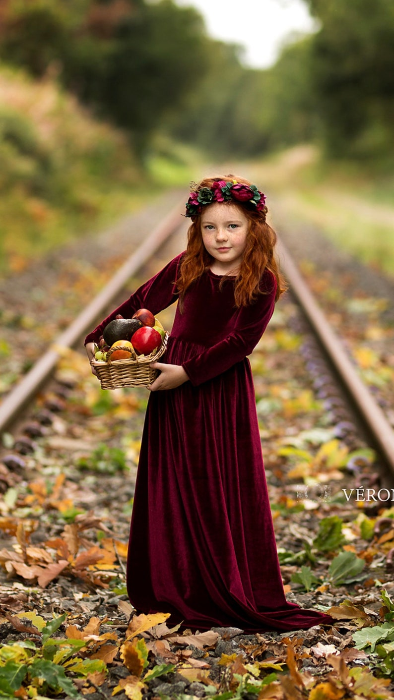 8c47c14271e30 Burgundy girl velvet dress Children evening gown Flower girl | Etsy