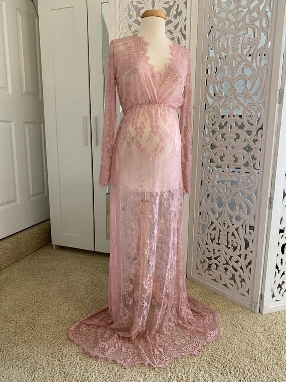 Blush Pinklace Maternity Gownlace Maternity Dressmaternity Dress For Photo Shootbaby Shower Giftblush Pink Maternity Dress