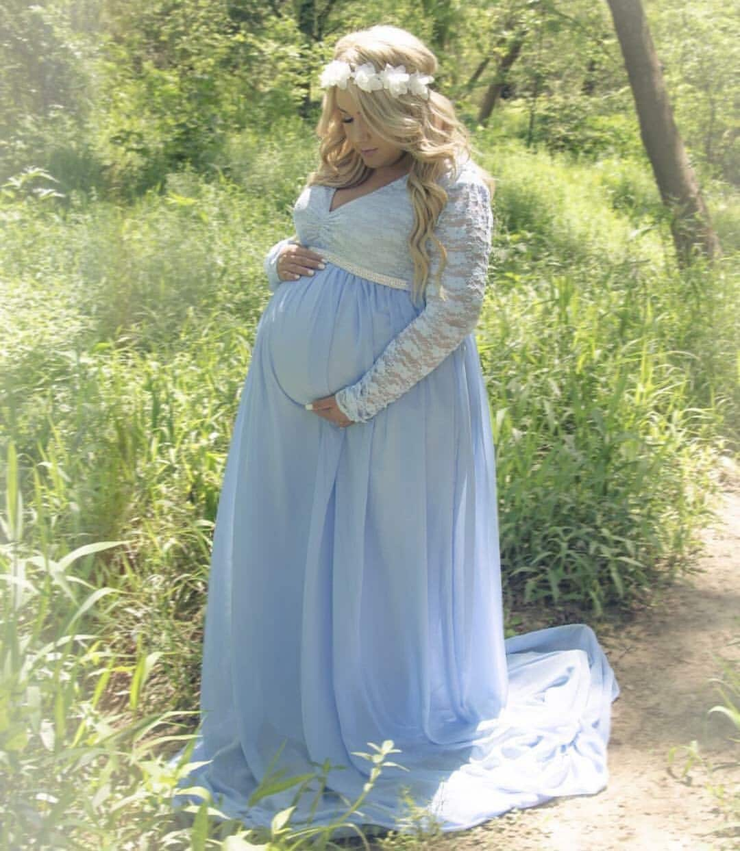 Light blue Lace Chiffon Lining long sleeves maternity gown   Etsy