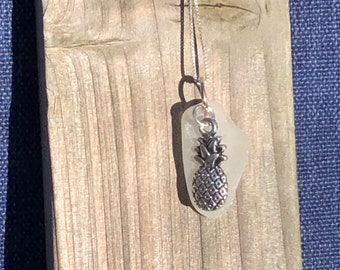 Seaglass necklace - pineapple charm - white seaglass- sterling silver - charm - necklace