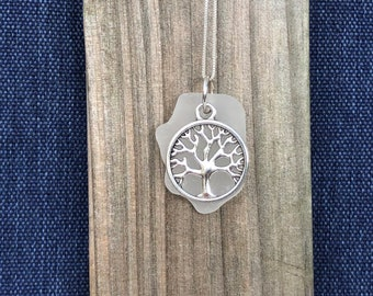 Tree of life - Seaglass necklace - charm necklace