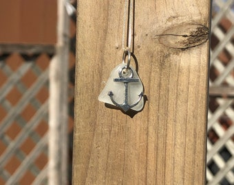 White Seaglass - necklace - anchor charm - beach life - boating - anchor - sterling silver