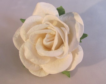 Paper Rose Flower Lapel Pin - White - Everyday / Weddings / Proms