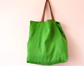 Sac réutilisable en lin lavé vert pomme avec anses en cuir, Tote bag en lin vert, Sac de courses zéro déchet, Cadeau écolo, Cabas en lin