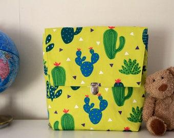 Cartable cactus pour enfants, Sac à dos jaune pour fille, Cadeau pour enfant, Sac motif cactus, Cartable maternelle, Sac de sport enfant