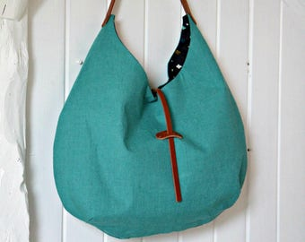 Cabas en lin vert jade avec anse en cuir, Sac à main en tissu et cuir, Sac hobo en lin, Cadeau pour femme, Cabas souple
