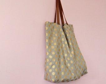 Tote bag en lin lavé à pois dorés avec anses en cuir, Sac de courses en lin, Sac bibliothèque, Cabas en tissu, Sac pour le marché, Sac pois
