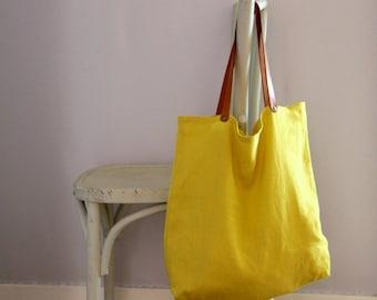 Sac de courses en lin lavé jaune citron avec anses en cuir, Sac cabas en lin, Tote bag jaune, Sac shopping, Sac pour la marché, Zéro déchet