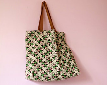 3f0fc5b97c Floral linen tote bag with leather straps, Zero waste market tote,  Geometric print linen shopper, Teachers gift, Reusable bag, Green flowers