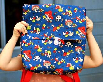 Sac à dos pour enfant imprimé pandas, Cartable maternelle en toile bleue marine, Sac à dos en tissu, Petit cartable pour garçon, Sac enfant
