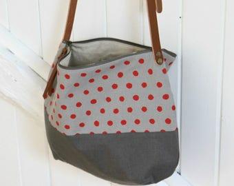 Sac bandoulière en lin gris à pois rouges avec anse en cuir rivetée, Sac à main zippé en tissu, Sac souple en lin, Besace en lin gris