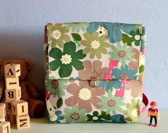 Cartable en tissu pour fille, Petit sac à dos pour maternelle, Sac à dos à fleurs pour enfant, Cartable à fleurs école, Cadeau pour fille