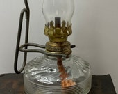 Vintage Antique Estate Clear Glass Miniature Mini Kerosene Oil Lamp With Chimney and Wire Wall Hanging Bracket