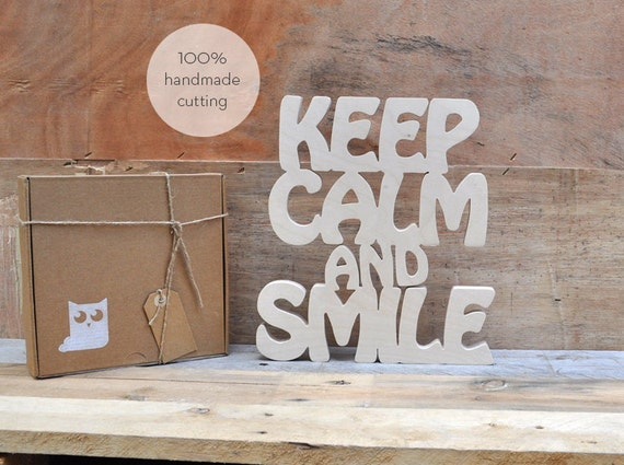 Keep Calm And Smile Wood Letters Handmade Cutting Hand Cut