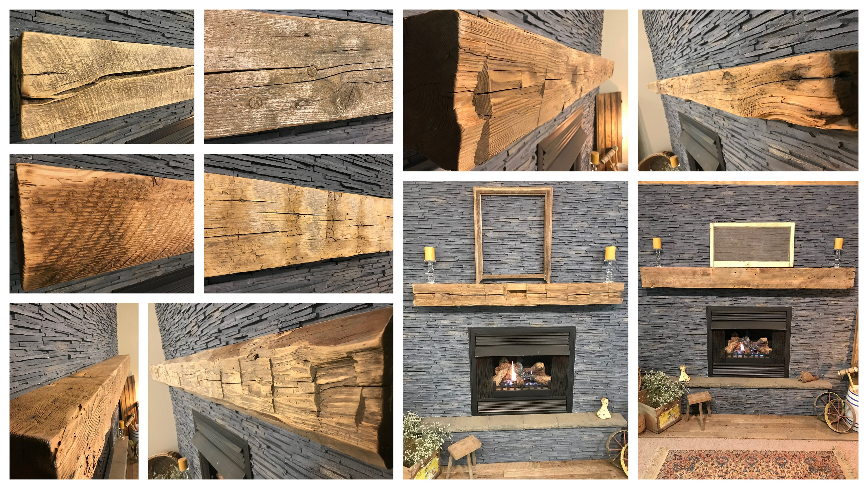 Reclaimed Wood Mantel Barn Beam Fireplace Mantle Rustic