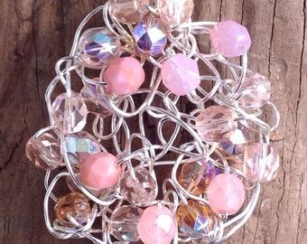 Crochet wire pendant, pink and citrine crochet wire beaded pendant, crochet jewelry, crochet pendant, wirework, crochet wire