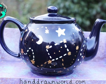 Blue teapot, galaxy, astronomy gifts, moon and stars, constellation, personalised gift, science gift, wedding gifts, Anniversary gift, geeky