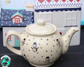 Christmas teapot, snowman, personalised gifts, personalised teapot