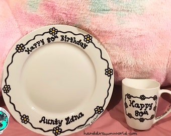 Personalised dinner set, daisy chains, Birthday gifts, gift ideas