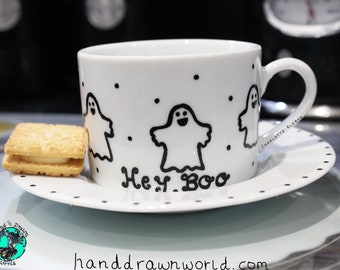 Cup and saucer, personalised gifts, personalised cup and saucer, Halloween gifts