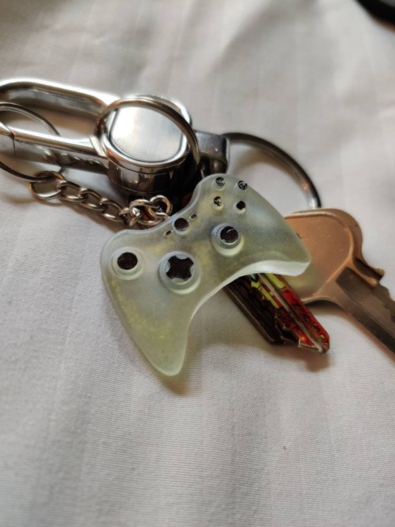 Clear Light Blue and Gold Xbox Controller Keychain
