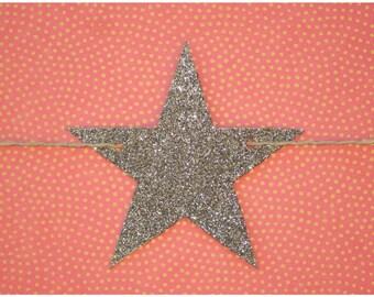 Graphite silver glitter stars garland strung on metallic silver & natural colored hemp twine READY TO SHIP